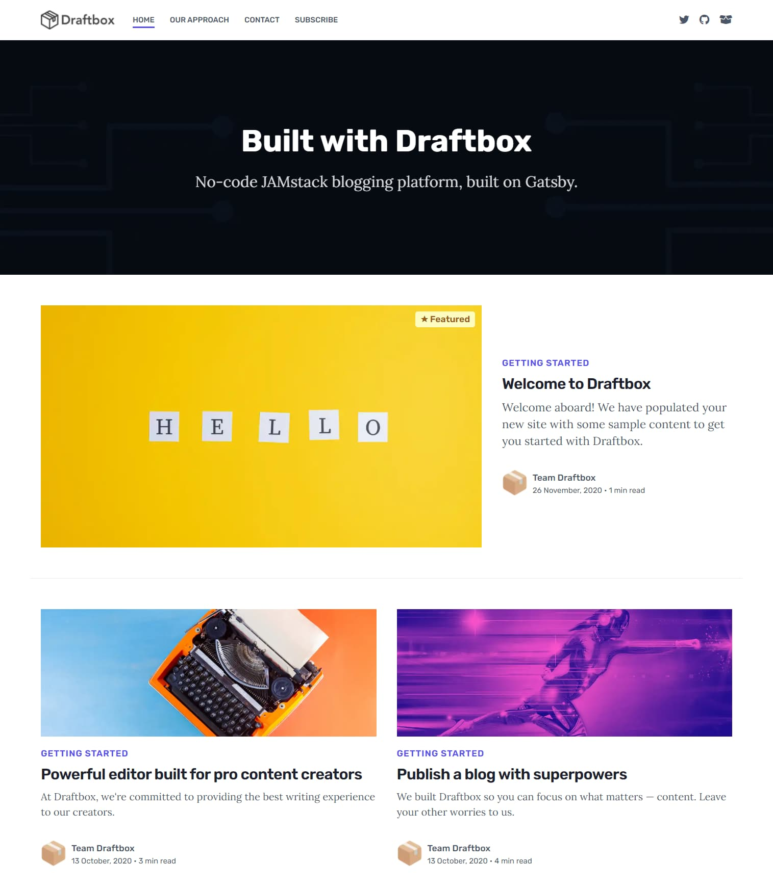 Draftbox CMS preview screenshot